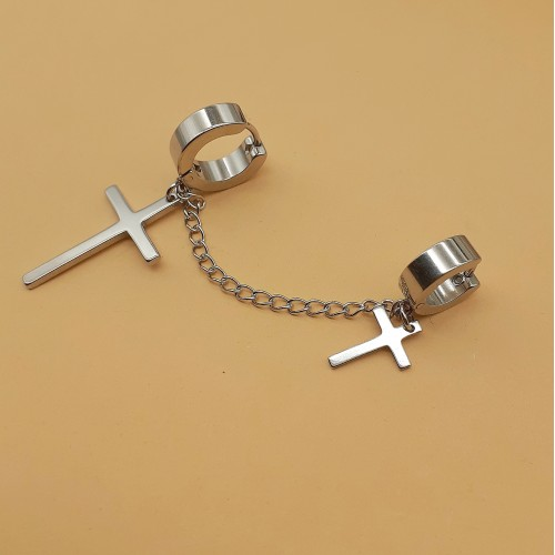 Серьги кольца с крестами подвесками стальные (1 шт.)