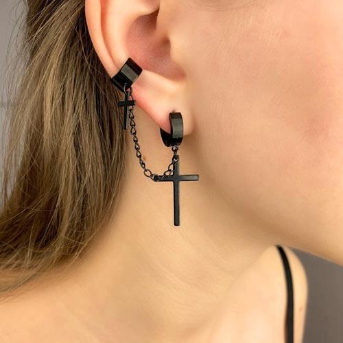Черные серьги-кольца с крестами подвесками из стали с застежкой каффа (1 шт.)
