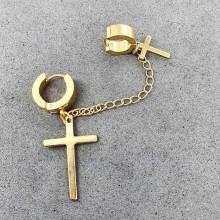 Круглые серьги конго из стали с подвесками крестами с покрытием под золото (1 шт.)