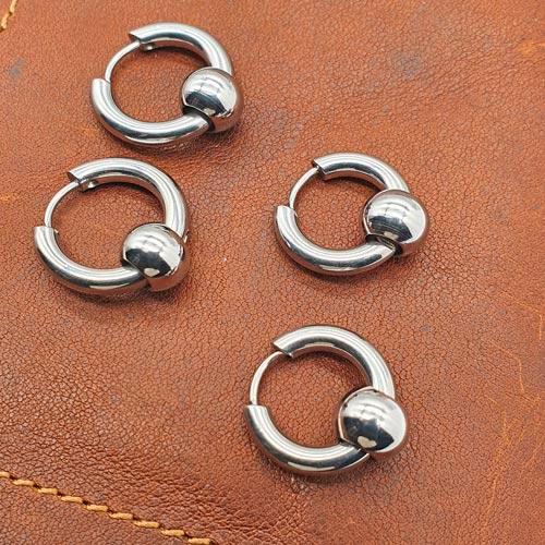 Серьги кольца унисекс из медицинской стали с бусиной 6 мм в ассортименте