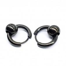 Сережки в ухо стальные черные с бусиной 6 мм унисекс в ассортименте
