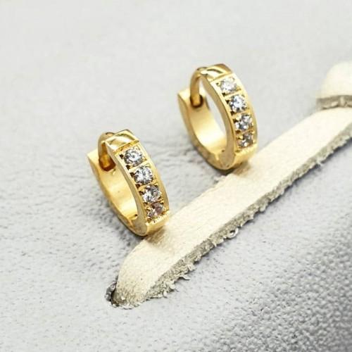 Серьги в ухо стальные женские с циркониями 4 камня 2 мм в двух цветах