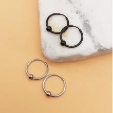 Круглые серьги унисекс из медицинской стали с бусиной 4 мм