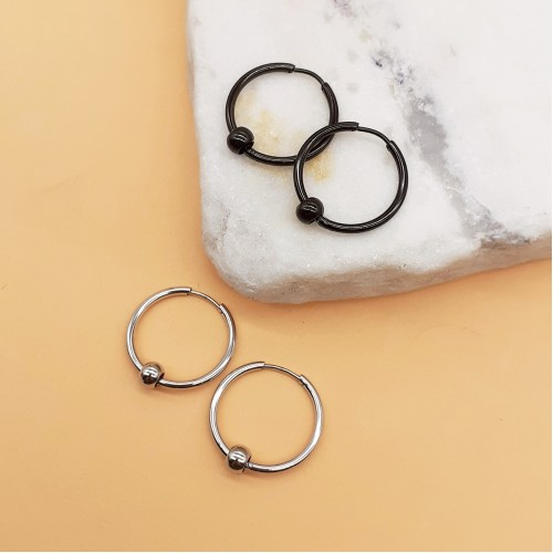 Круглые серьги унисекс из медицинской стали с бусиной 4 мм в двух цветах