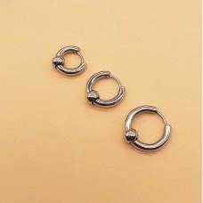 Тонкие серьги кольца из стали с бусиной 4 мм в ассортименте