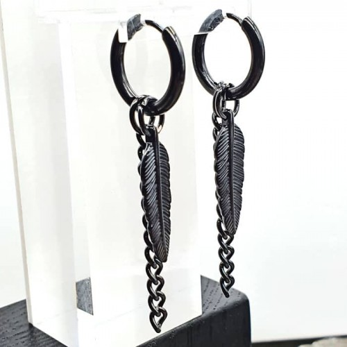 Черные серьги-кольца со съемными подвесками из стали унисекс