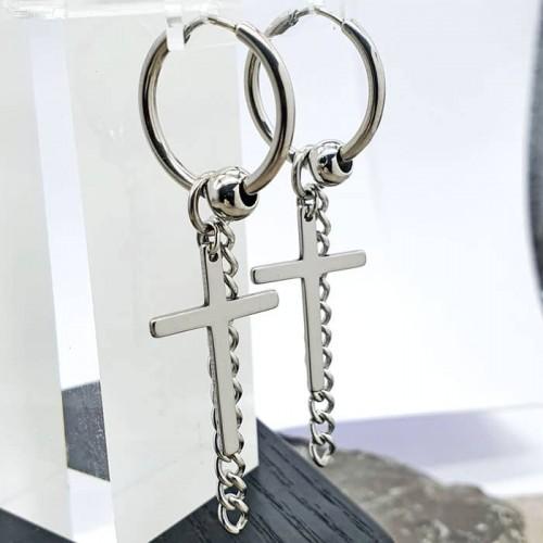 Круглые серьги кольца из стали с подвесками-крестами и бусиной унисекс