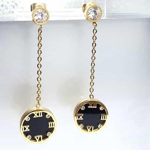 Длинные серьги Часы из медицинской стали женские