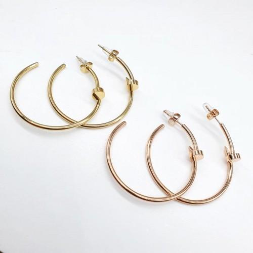 Женские круглые серьги-конго из стали в форме гвоздя в двух цветах