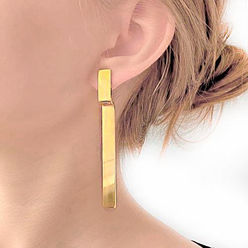Длинные серьги из медицинской стали Лорен золото