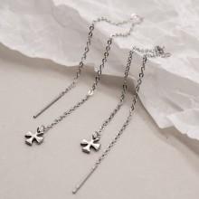 Серьги цепочки стальные Крест