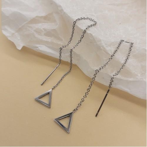 Сережки-цепочки в уши медицинская сталь Треугольники