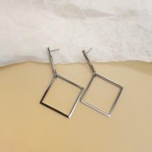 Серьги с подвесками ювелирная сталь Ромбы