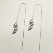 Серьги длинные цепочки протяжки стальные Крылья ангела