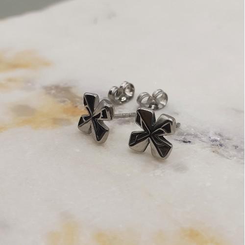 Сережки-пуссеты в форме креста медицинская сталь унисекс