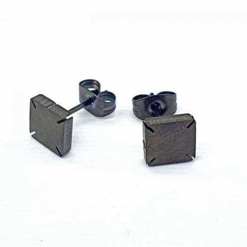 Серьги-гвоздики из медицинской стали Черный квадрат унисекс