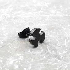 Стальные сережки-гвоздики Черный винт унисекс (1 шт.)