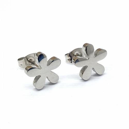 Серьги из стали с застежкой-пусет Цветок