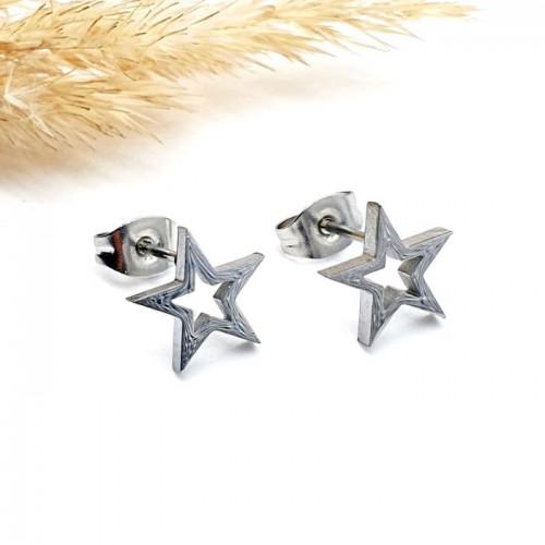 Серьги в уши с застежкой-пусет из медицинского металла Стальная звезда