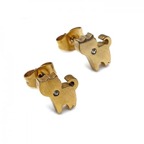 Тематические сережки-гвоздики из стали с фианитом для девочки Кошка