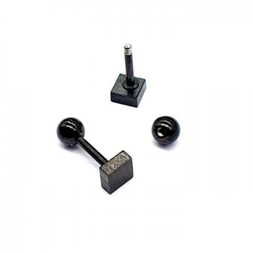 Сережки на закрутках из медицинского металла Черный квадрат унисекс