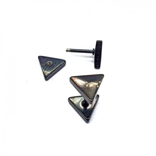 Сережки с закручивающейся застежкой Треугольники унисекс