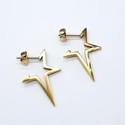 Необычные серьги-кольца из стали в форме звезды Fashionable style