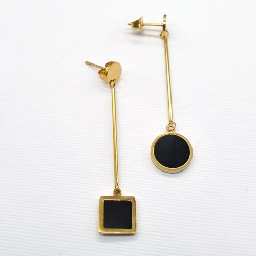 Женские серьги из медицинского металла с геометрическими подвесками Ассиметрия