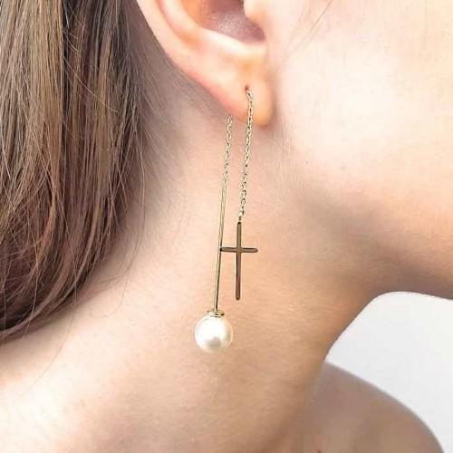 Сережки-протяжки из ювелирного сплава и искусственным жемчугом на винтовой застежке