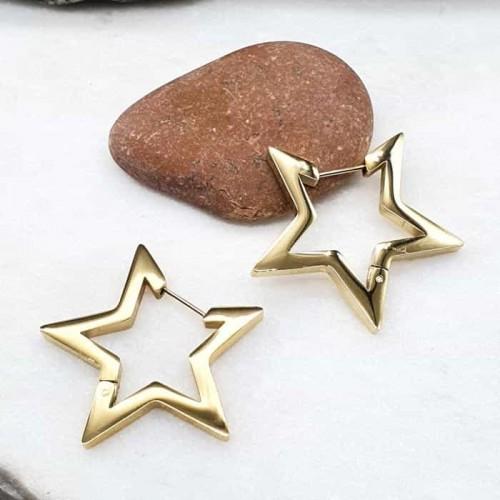 Стильные серьги-кольца в форме звезды из ювелирного сплава