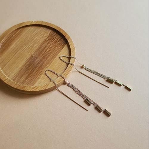 Серьги протяжки (продевки) на цепочке стальные Нежность