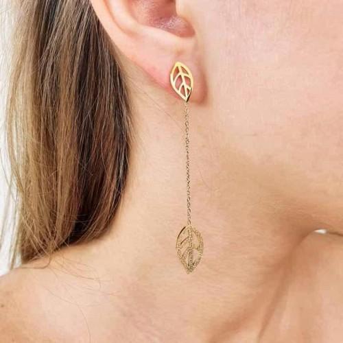 Сережки висюльки на цепочке ювелирный сплав Листья