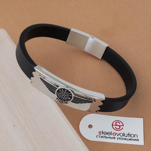 Кожаный мужской браслет со стальной пластиной