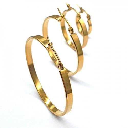 Серьги-кольца конго из ювелирного сплава с PVD покрытием под золото