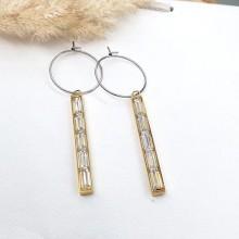 Элегантные серьги-висюльки из стали с покрытием Золотой глаз