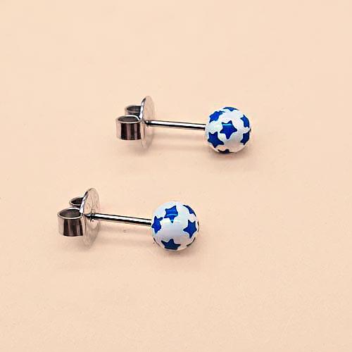 Серьги гвоздики стальные в форме шариков