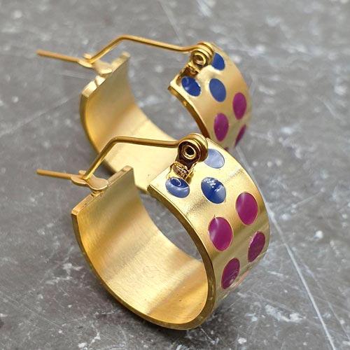 Серьги-кольца из медицинского металла с эмалью Розовый фламинго