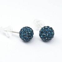 Серьги-гвоздики стальные с темно-синими кристаллами 8 мм