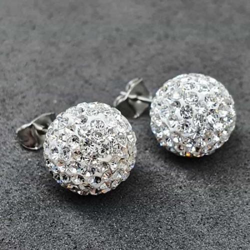 Большие серьги-гвоздики в виде шариков с белыми кристаллами 11,5 мм