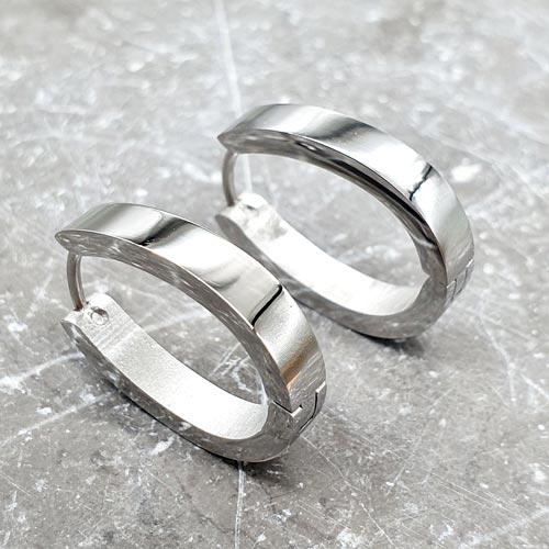 Серьги-кольца из медицинской стали овальной формы глянцевые 4 мм