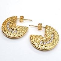 Серьги-кольца с застежкой гвоздик из медицинского золота с циркониями