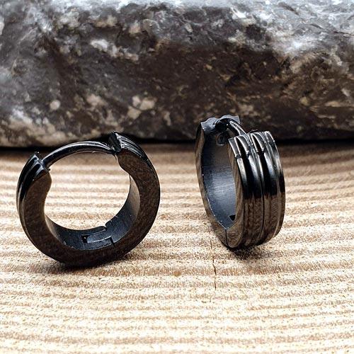 Черные серьги-кольца из хирургической стали