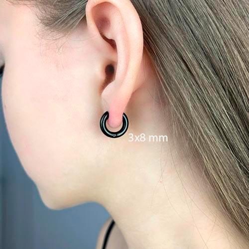 Круглые серьги конго в уши из черной стали унисекс 3 мм в ассортименте