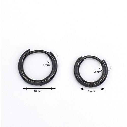 Серьги-кольца черные из хирургической стали унисекс 2 мм в ассортименте