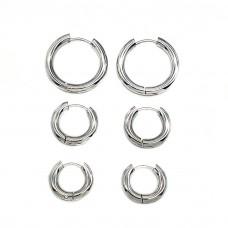 Серьги кольца в уши унисекс из нержавеющей стали 3 мм