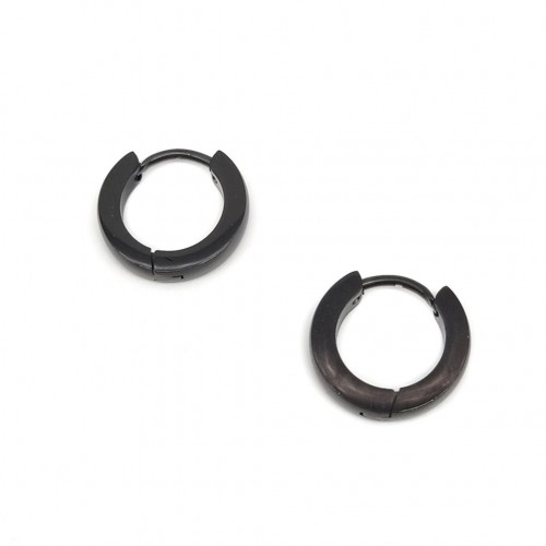 Серьги кольца конго из нержавеющей стали черные 2 мм