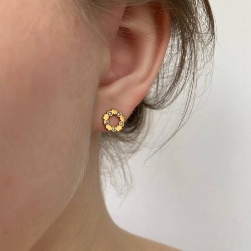 Элегантные сережки-гвоздики из стали с покрытием под золото Сплетение нежности