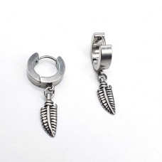 Длинные серьги из стали застежка-кольцо Серебристое перо