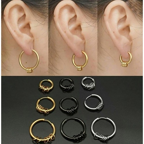 Серьги кольца черные стальные с декором
