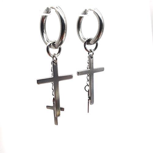 Сережки из стали с подвеской Кресты